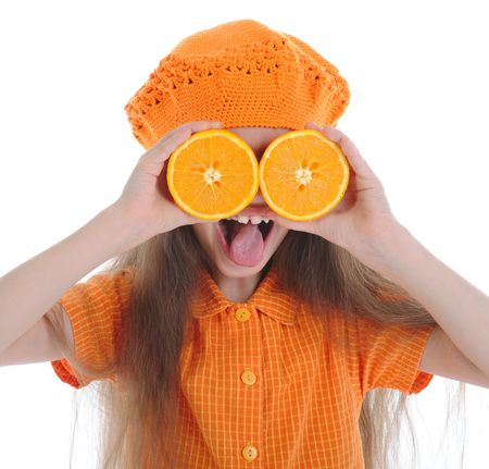 Funny little girl with the orange shows the language. Isolated on white flne photo