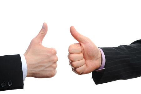 Thumbs up by a businessman. Isolated on white background