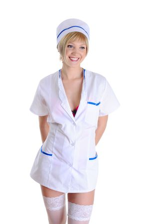Sexy nurse in a dressing gown and stockings. Isolated on white background photo