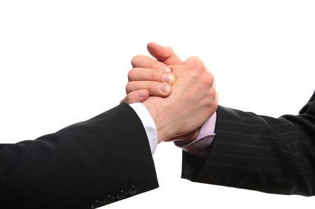Image handshake partners close. Isolated on white background photo