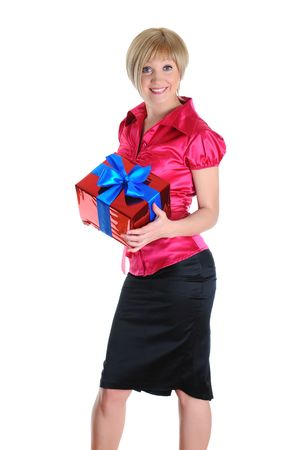 Portrait of beautiful smiling woman with a gift box. Isolated on white background Stock Photo - 6820576