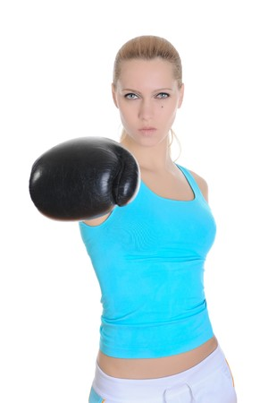 Portrait of a beautiful strong girl with boxing gloves. Isolated on white background photo