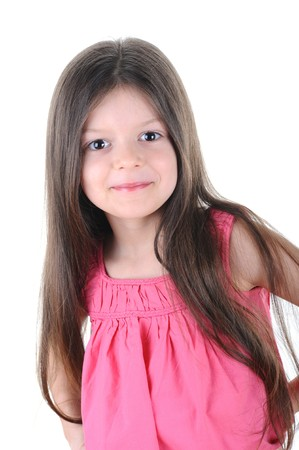 Little girl looks confident gaze. Isolated on white background Stock Photo - 6883128
