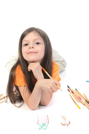 Little beautiful girl draws pencil on paper. Isolated on white background Stock Photo - 6883154
