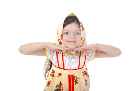 Little girl in a scarf dance. Isolated on white background photo