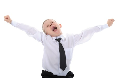 little boy with no front teeth, screams of delight. Isolated on white background Stock Photo - 6970546