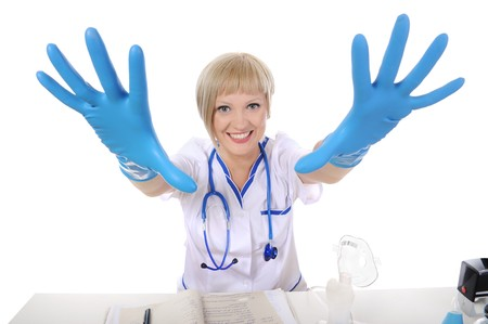 Nurse gloves stretching his arms forward. Isolated on white background Stock Photo - 6970596