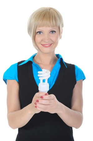 Beautiful blonde girl with a lamp in his hand. Isolated on white background photo