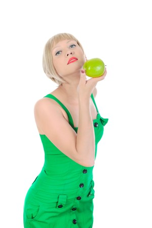 Beautiful girl with green apple in her hand. Isolated on white background Stock Photo - 6970863