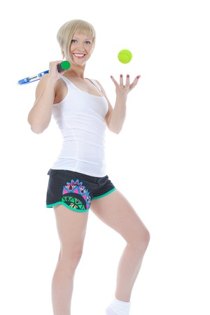 Beautiful young tennis player. Isolated on white background photo