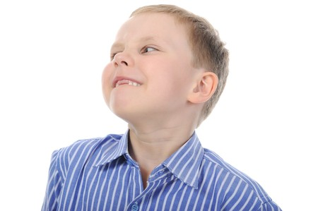 Portrait of a happy boy with no front teeth. Isolated on white background photo