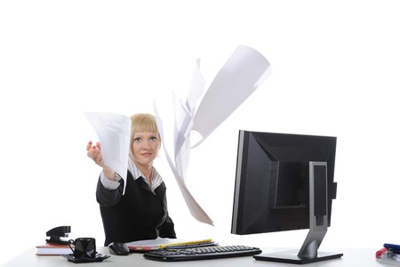 Businesswoman throws documents . Isolated on white background photo