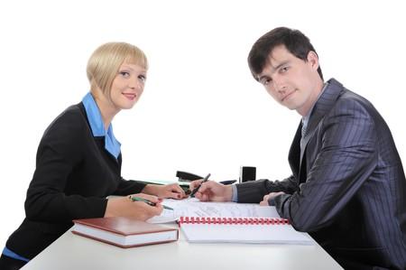 Negotiation of business partners. Isolated on white background photo