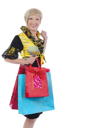 Beautiful blonde with bags. Isolated on white background photo