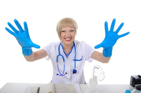 fonendoscopio: Doctor in blue gloves. Isolated on white background