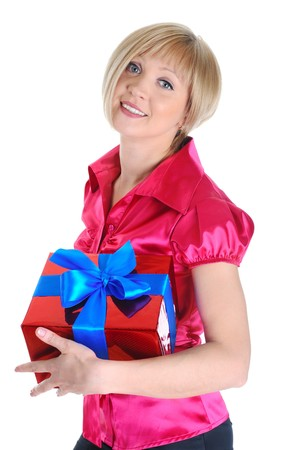 Young blonde with a gift. Isolated on white background photo