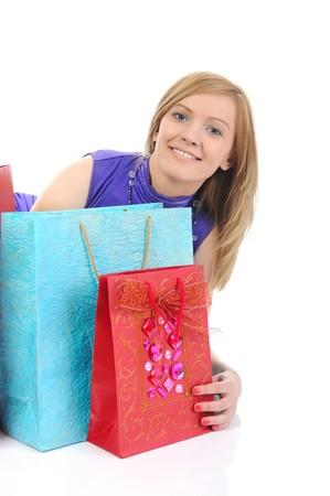 Beautiful smiling customer. Isolated on white background photo