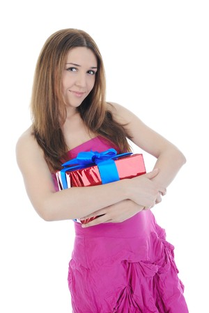 beautiful brunette with a gift box. Isolated on white background Stock Photo - 7086158