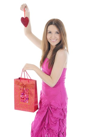 Charming brunette shopping bag. Isolated on white background photo