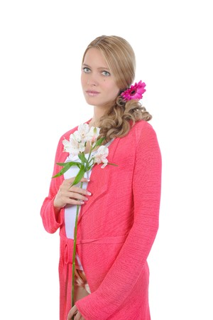 beautiful girl with a lily in his hands. Isolated on white background photo