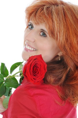 red-haired girl with a rose. Isolated on white background  photo