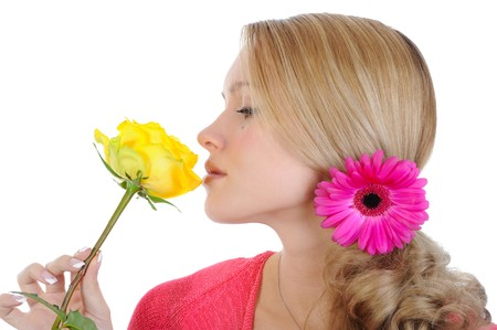 beautiful girl with a yellow rose. Isolated on white background Stock Photo - 7098511