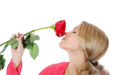 beautiful girl with a red rose. Isolated on white background photo