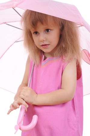 little girl with an umbrella. Isolated on white background photo