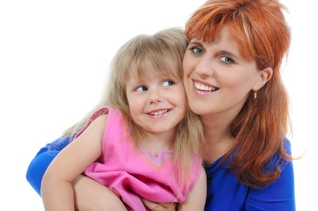 Red-haired woman with her daughter. Isolated on white background photo