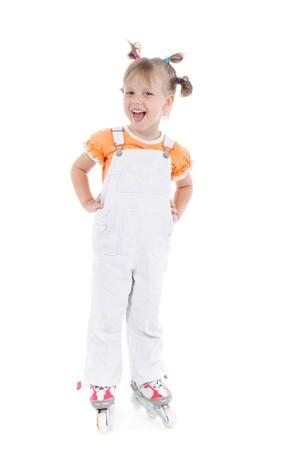 Lucky girl on roller skates. Isolated on white background Stock Photo - 7146929