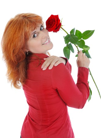 woman with a red rose. Isolated on white background Stock Photo - 7172530