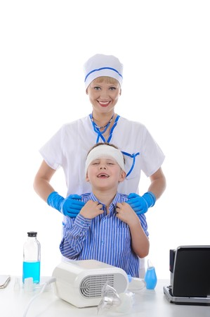 nurse and the little patient. Isolated on white background photo