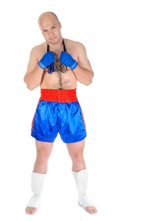 boxer with a skipping rope in his hands. Isolated on white background photo
