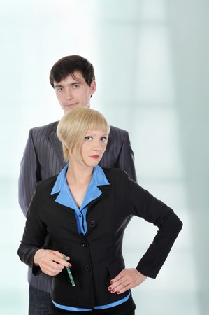 Portrait of business men and women in the office. Stock Photo - 7275522