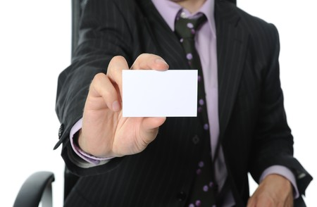 man handing a blank business card. Isolated on white background Stock Photo - 7303247