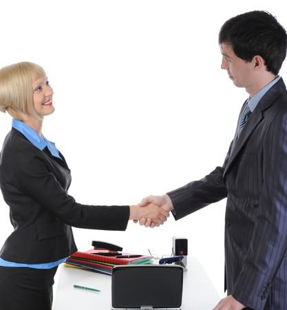 Handshake two business partners. Isolated on white background Stock Photo - 7303251