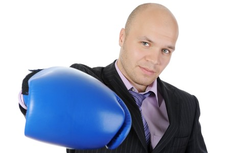 man with boxing gloves raised his hand. Isolated on white background Stock Photo - 7340123