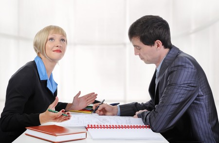 partners at the negotiating table in the office.  Stock Photo - 7340120