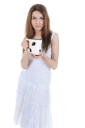 Women with a big mug in his hands. Isolated on white background  photo