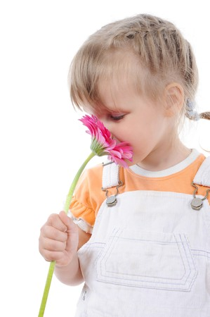 girl sniffs a flower. Isolated on white background  photo