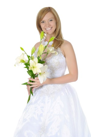 bride with a bouquet of lilies. Isolated on white background photo