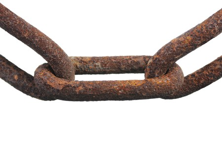 rusty chain close-up. Isolated on white background photo
