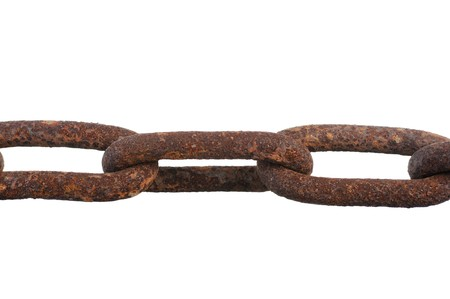Large rusty chain. Isolated on white background photo