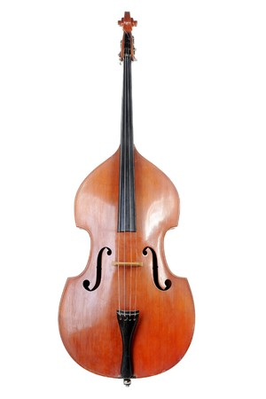 Images of the classical contrabass. Isolated on white background Standard-Bild