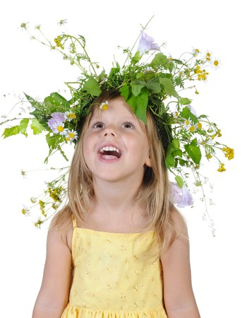 girl with a wreath of flowers. Isolated on white background photo