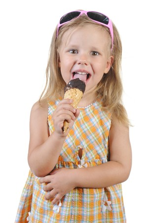 child eating ice cream. Isolated on a white background Stock Photo - 7539604