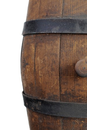 iron hoops: Old wooden barrel. Isolated on white background