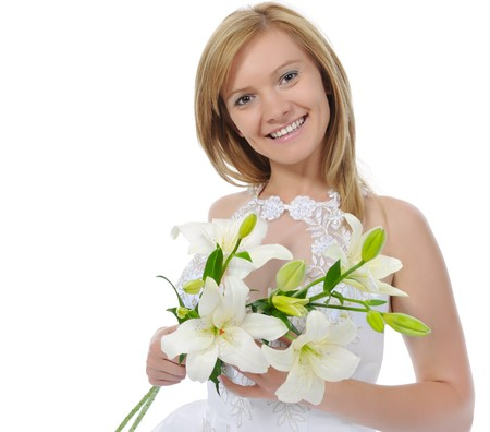 bride with a bouquet. Isolated on white background photo