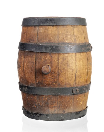 beer barrel: Wooden barrel with iron rings. Isolated on white background
