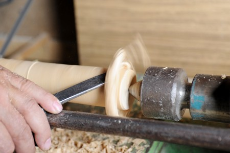 blanks: Product manufacturing wooden blanks on the lathe